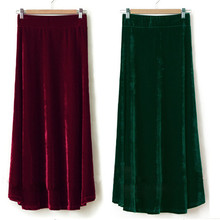 TIYIHAILEY Free Shipping XS 10XL New Long Maxi A Line Women Elastic Waist Winter Customer Made Velour Pleated Velvet Skirt