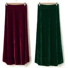 Tiyihailey送料無料XS 10XL新長期マキシaライン女性弾性ウエスト冬顧客メイドベロアプリーツベルベットスカート