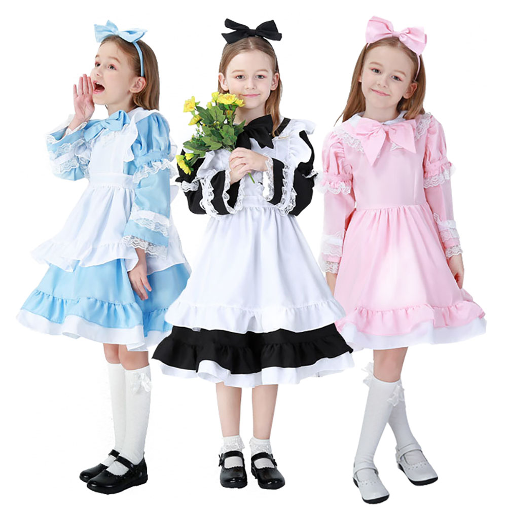 Woa Costumes Store Alice in Wonderland Kids Costume Baby Girls Party Dress Little Maid Outfit Alice Cosplay Halloween Fancy Dress for Children