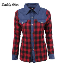 Daddy Chen Plaid Women Blouses 2017 New Fashion Patchwork Long Sleeve Women Blouse Casual Female Tops Red Color Cotton Shirt