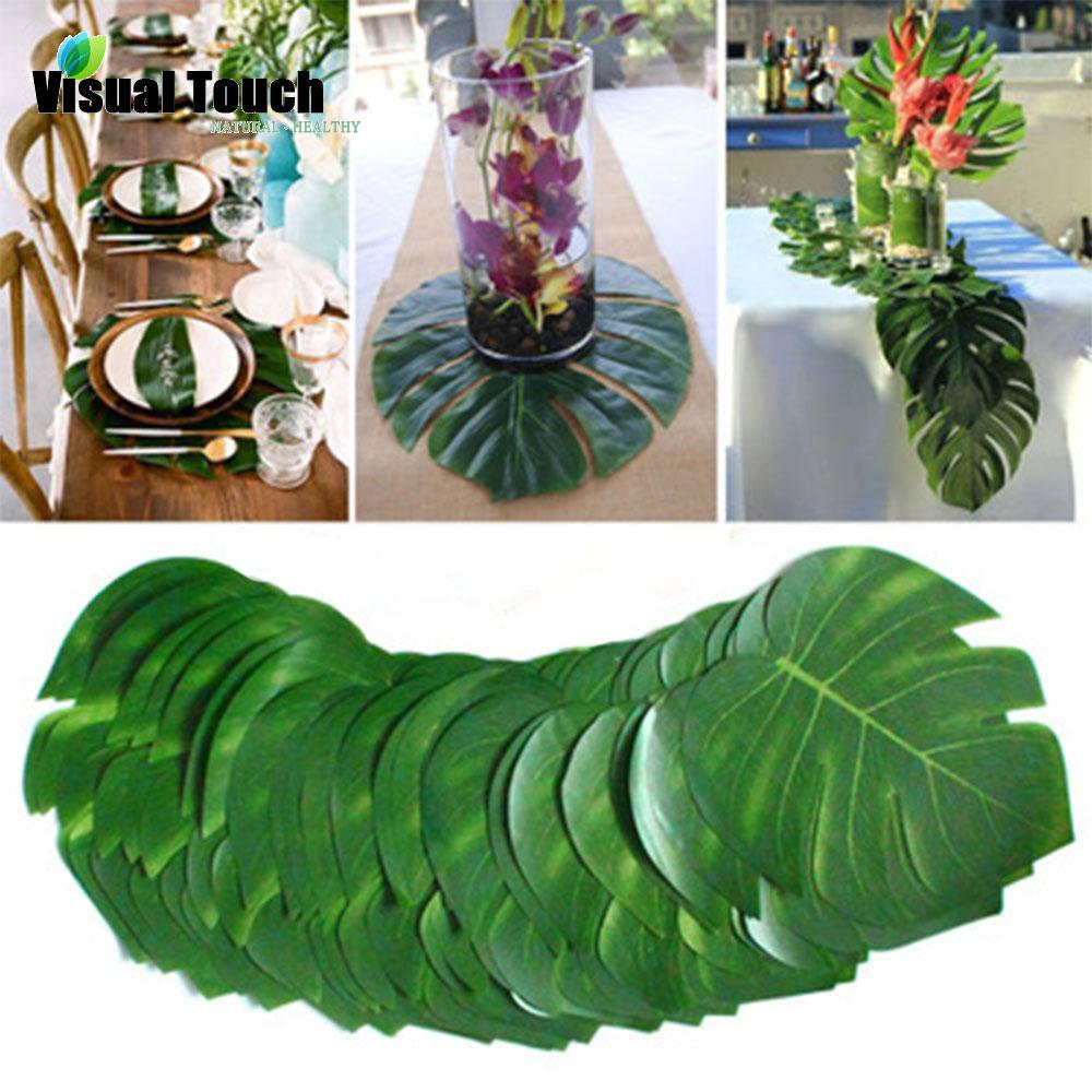 12pcs/Lot Fabric Artificial Tropical Palm Leaves Simulation Monstera Leaves Hawaiian Luau Party Jungle Beach Theme Table Decor