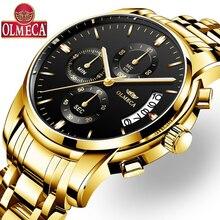 OLMECA часы Для мужчин модные Повседневное спортивные часы Relógio Masculino хронограф световой Водонепроницаемый Бизнес relojes кварцевые часы