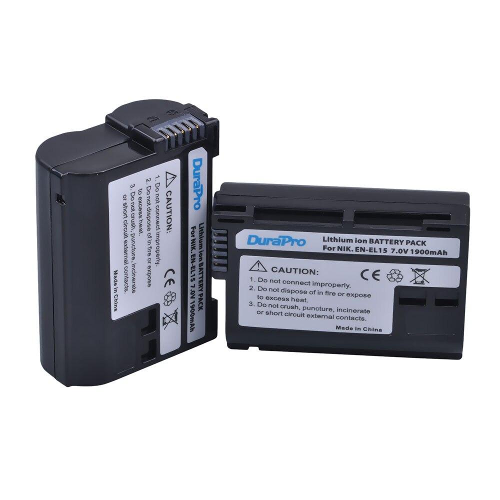 2 pièces EN-EL15 EN EL15 ENEL15 Rachargeable Li-ion Batterie Pour Nikon D600 D610 D600E D800 D800E D810 D7000 D7100 D750 V1 MH-25
