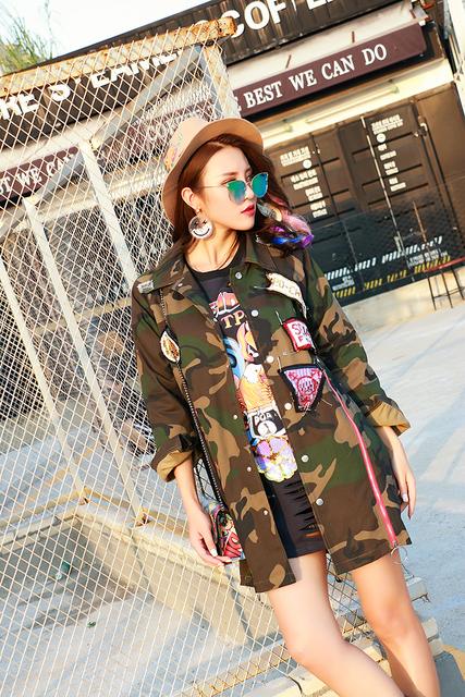 Melinda Estilo 2016 novos das mulheres da forma padrão perturbador do exército jaqueta casaco outwear casuais frete grátis