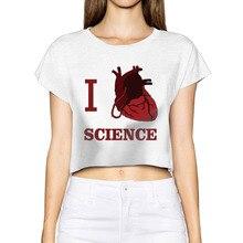 Women 2017 Cropped Feminino I Heart Science Love Biology Tumblr Anime Crop Tops Women Fashion Style Tie dye Custom Shirts