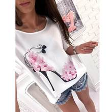 CHAMSGEND Women Short Sleeve High Heels Printed Tops Beach Casual Loose ruffled blouses in style Blouse Drop Shipping 2F23(China)
