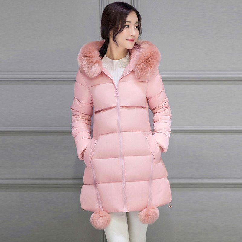 Winter Women Large Fur Collar Long Sections Slim Down Padded Jacket Female Cotton Coat Thicker Warm Hairball Plus Size WWF33 2015 winter new korean female rabbit fur collar down jacket cotton padded jackets women short coat plus size long parks jy 933