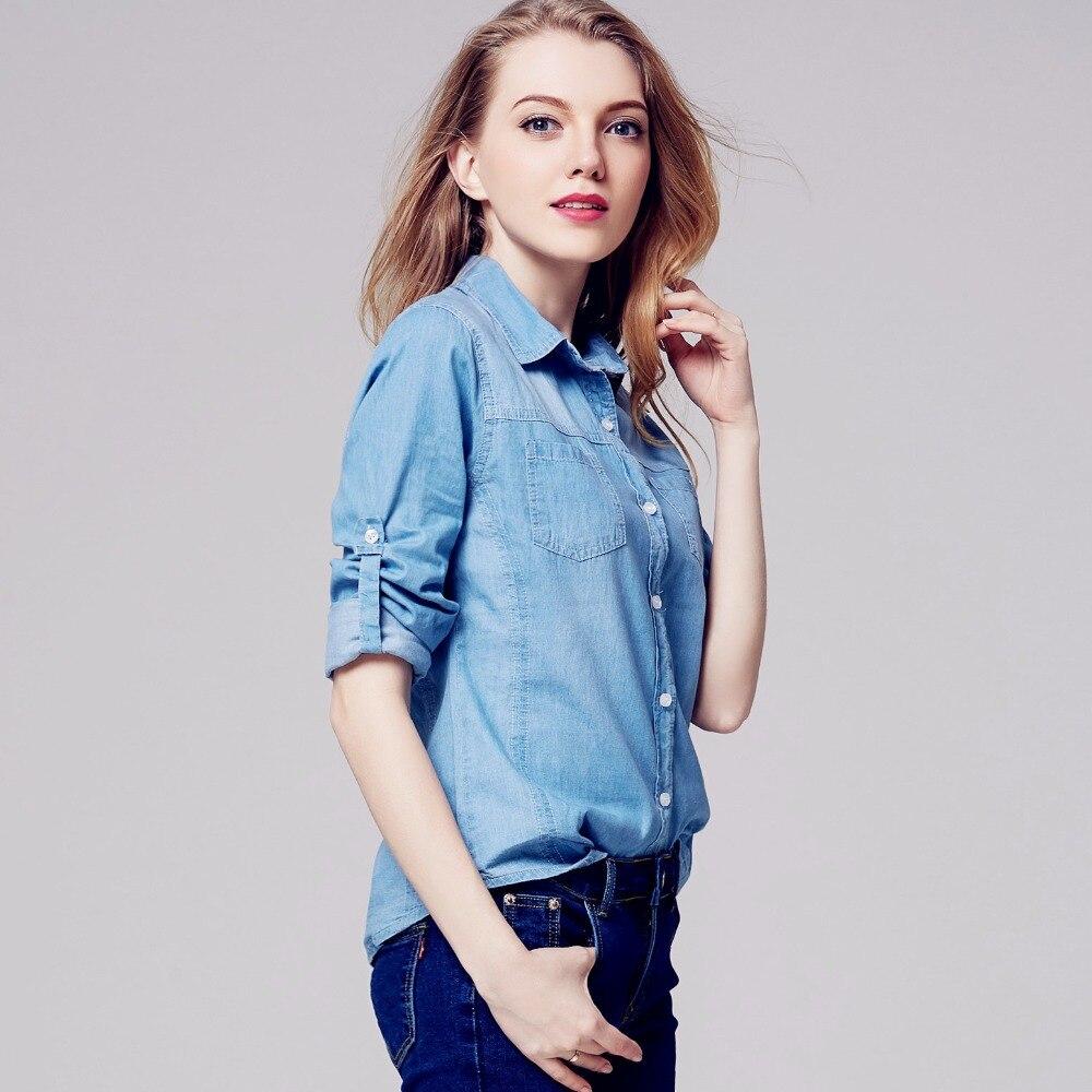 buy newest women denim shirt chemise jean 39 s femme jeans blouse long sleeve plus