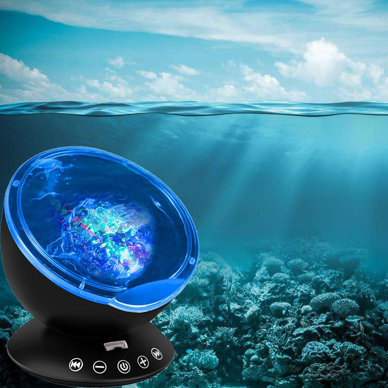 Ocean Wave LED Starry Sky Aurora Night Light Projector Remote Novelty USB TF Nightlight Illusion For Baby Decor Bedside Lamps