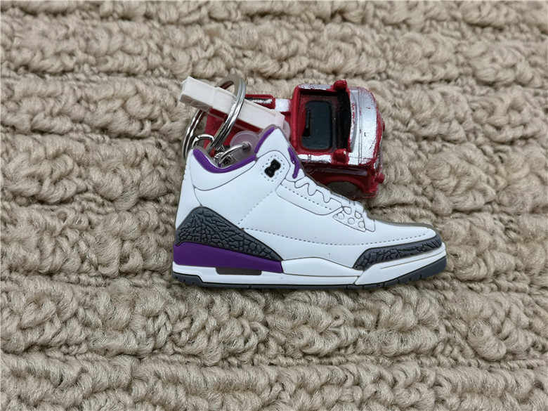 Thời trang Mini Silicone Jordan 3 AJ Giày Móc Khóa Túi Quyến Rũ Người Phụ Nữ Nam Trẻ Em Móc Khóa Quà Tặng Phụ Kiện Giày Sneaker Chìa khóa mặt dây chuyền