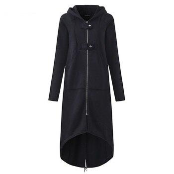 2020 ZANZEA Women Hooded Long Sleeve Zipper Drawstring Casual Irregular Coat Casual Solid Long Jacket Sweatshirt Plus Size 7