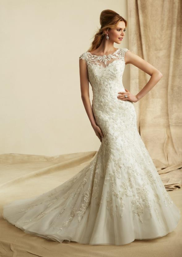 Modest Mermaid Fitted Lace Keyhole Back Bridal Gown With Illusion Neckline 2018 Vestido De Noiva Mother Of The Bride Dresses