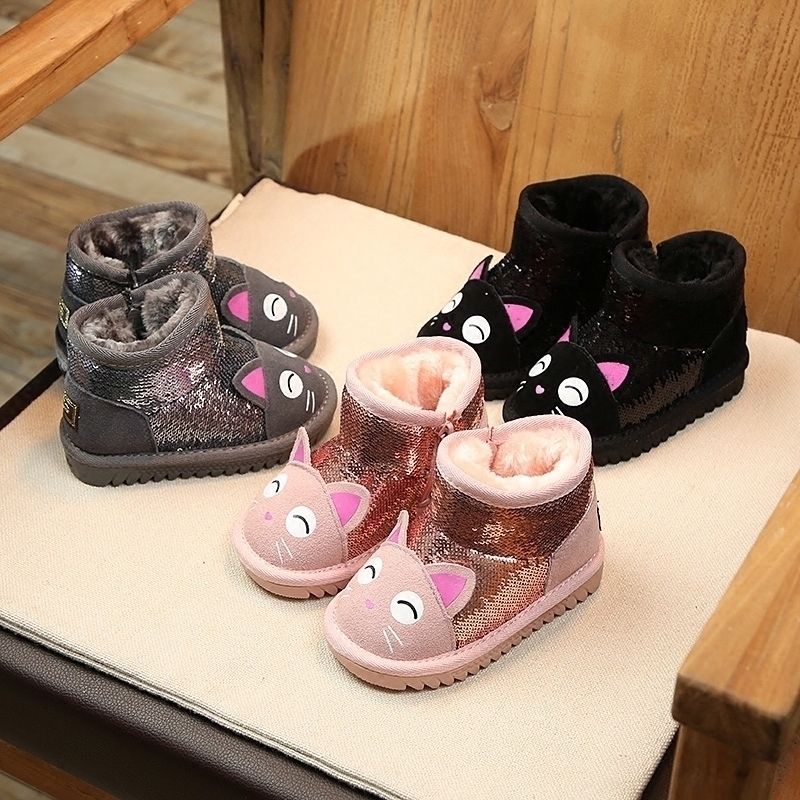 Detail Feedback Questions about ULKNN Kids Snow Boots Toddle Baby Girls  Warm Plush Shoes 2018 Winter Children Sequins Ankle Boots Cartoon Soft Boys  School ... 2d5facc68102