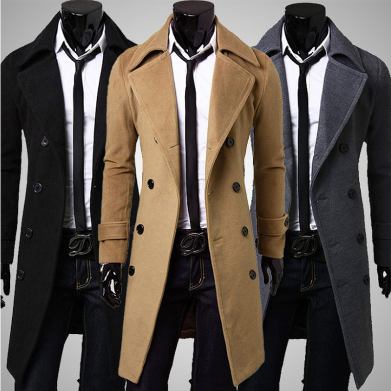 Autumn And Winter mens coats casual men long jackets slim Double-breasted Woolen coat male casaco sobretudo masculino G71520