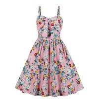 Floral Print Robe Vintage Dress Women Strapped Swing Pin Up Dress Hepburn 50s 60s Retro Rockabilly Party Summer Dresses Vestidos