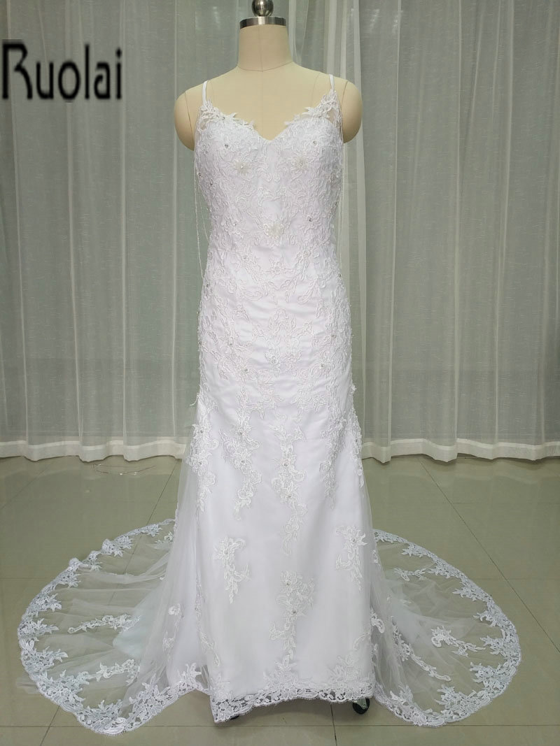 high quality lace applique sexy backless wedding dresses sheath bride gowns for wedding party custom made