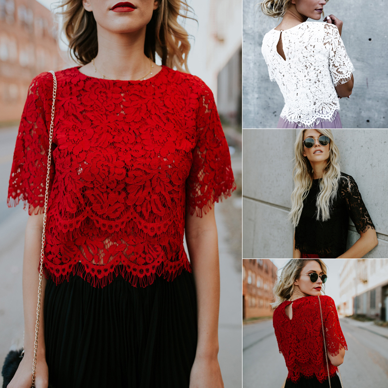 2019 Red Loose Blouse Women Short Sleeve Tops Shirt Casual Lace Tops Shirt Fashion Women Ladies Clothing Tops 12