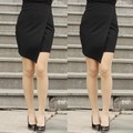 Saias Femininas 2015 Fashion Short Skirts Female Black Front Cross Split Skirt Women Hot Mini Skirt Sexy 10