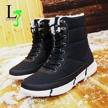 Mężczyźni Snow Buty wodoodporne płótno Buty Mężczyźni kostki buty krótki pluszowe koronki up 2018 ciepłe botas hombre plus rozmiar 48 zimowe sneakers tanie tanio Dorosłych Krótki pluszowy Płótnie Niska (1cm-3cm) Gumowe LOUBIT jest Zima Sznurowane Szycia Okrągły palec loubit00088200