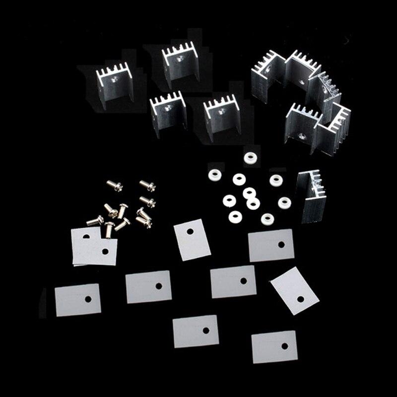 10pcs lot heatsink heat sink with screw sets for to 220 fast shipping 10pcs/lot 15*20mm Heatsink Heat Sink With Screw Sets For TO-220