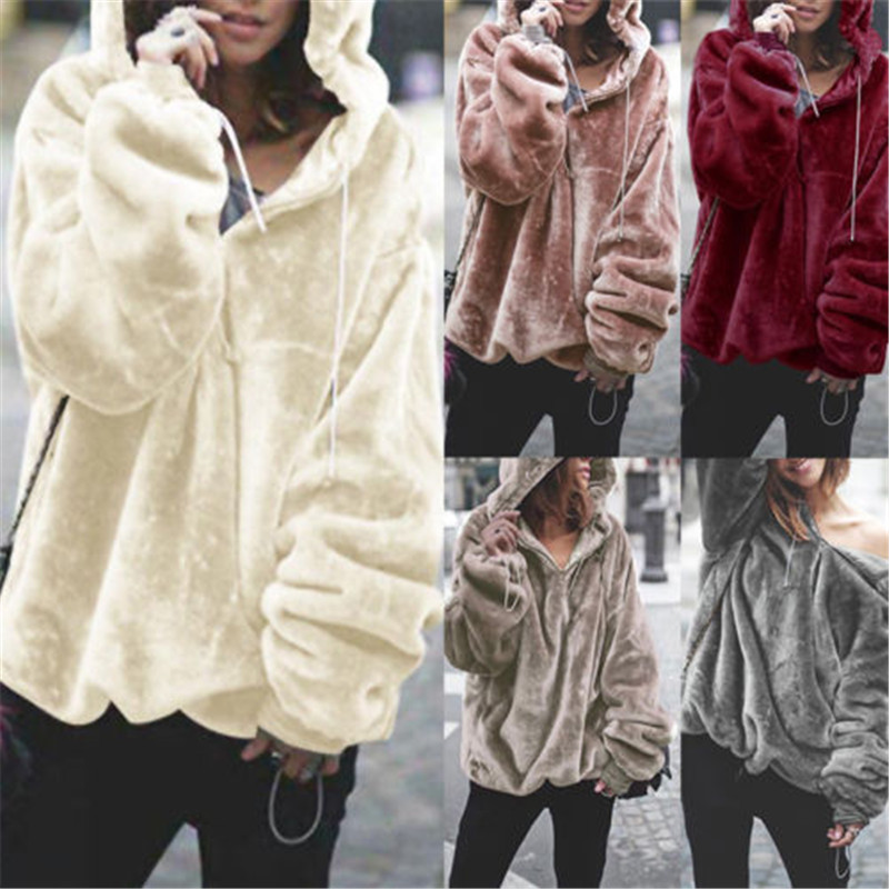 Drop Shipping Women Hooded Solid Sweater Winter Loose Style Thickened Warmlong Sleeve Coat New