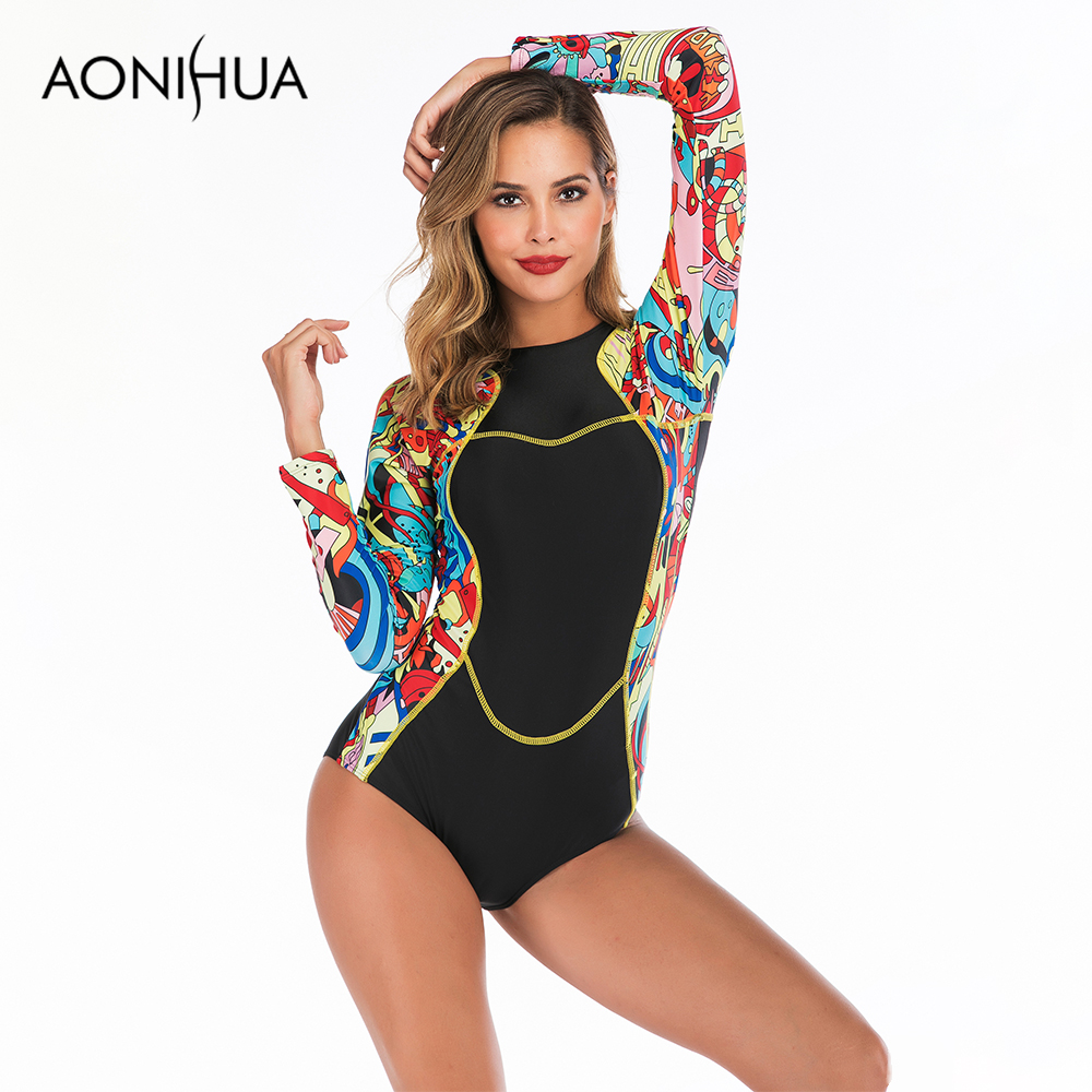 Aonihua One piece Swimsuit For Women Carton Printed Design Womens Bathing Suits Summer Surfing Swim Female