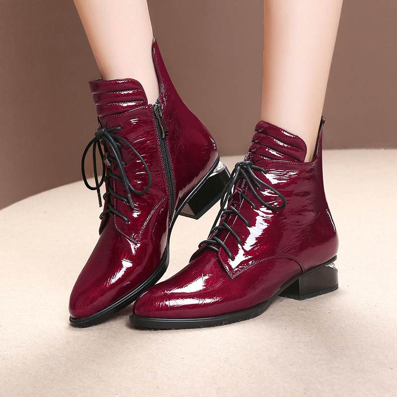Image 5 - 2019 superstar pearl pointed toe keep warm zipper ankle boots  elegant motorcycle boots brand pearl heels sexy winter shoes L2f1Ankle  Boots