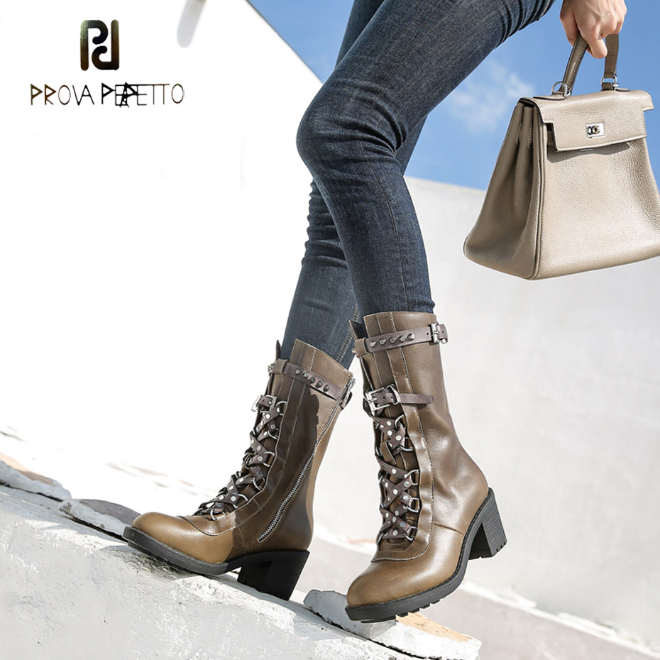 Prova Perfetto rivet studded genuine leather belt buckle knight boots women chunky high heel round toe martin short boots mujer prova perfetto mixed color chunky high heel rome style women sandals rivet decoration buckle genuine leather shoes mujer zapatos