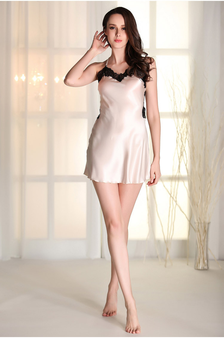 CherLemon Summer Sexy Silk Satin Women Nighty Cross Strap Hollow Back  Nightwear V-Neck Lace Nightgown Ladies Hot Lingerie ff3656728