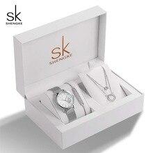 Shengke Rose Gold Vrouwen Horloges Set Luxe Crystal Ontwerp Oorbellen Ketting Horloge Set Box Horloge Xmas Gifts Sieraden Vrouwen