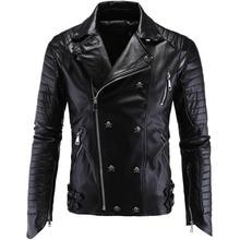 HOT 2016 autumn winter motorcycle leather jacket men fashion jackets casual coat men's pu leather jacket male skull coat M-5XL