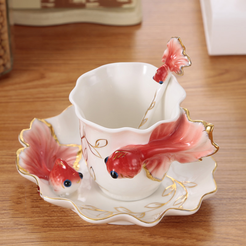 New Arrival Special Design Hand painting Color Enamel Coffee Cups Five Colors Creative For Friends Gifts