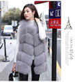 Hot Sale Genuine Real Fox Fur Women's Winter Warm Fluffy Long Vest Vests Gilet Sleeveless Waistcoat Free Shipping