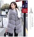 Venda quente Genuine Real Fox Fur Inverno Quente Fluffy Longa das Mulheres Vest Gilet Coletes Sem Mangas Colete Frete Grátis