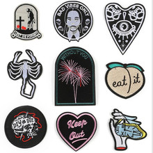 Black White Hand Love Animal Patch Badge Embroidered Iron On Patches Embroidery Badges Design Repair DIY Coat Shoes Accessories