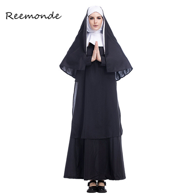 Virgin Mary The Nun Costumes For Women Sexy Black Long Skirt Nuns Cosplay Costume Arabic Religion Monk Ghost Uniform Halloween