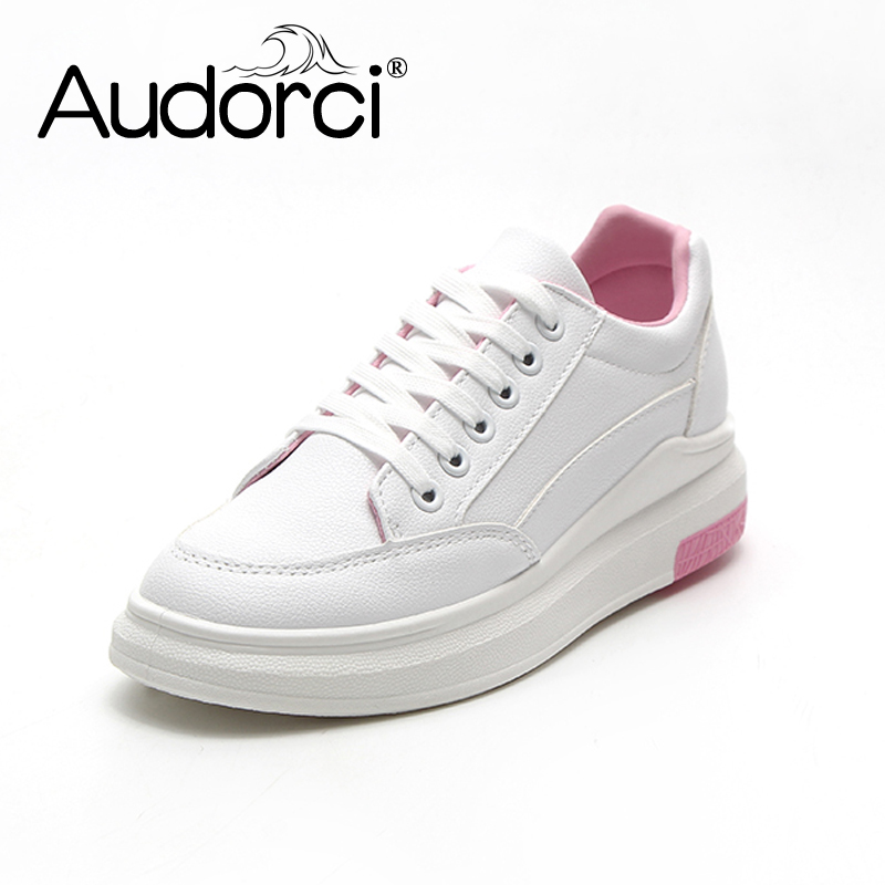 Audorci 2018 Womens White Lace-Up Flats Shoes Woman Casual Board Shoe Female Outdoor Walking Plats Shoe Sneakers Size 35-40