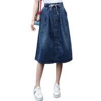 2017 High Waist Cotton Denim Women Long Skirt Lace Up Waist Oversize Women Denim Skirt Plus Size 7XL Women Skirts Faldas Saias