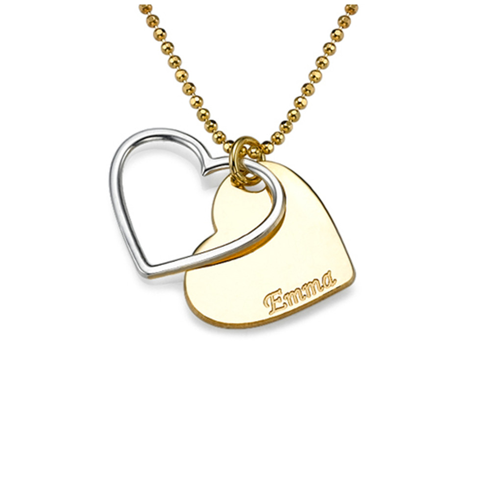 custom engraved plate name necklace double heart charm