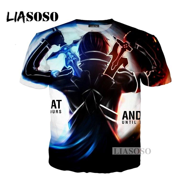 LIASOSO NEW Anime Sword Art Online Tees 3D Print T-shirt/Hoodie/Sweatshirt Unisex Cosplay Sexy katana kirito T Shirt Tops G343