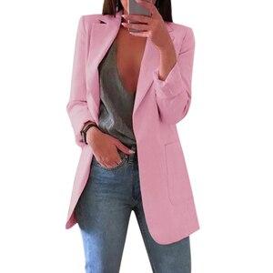 Image 1 - Recém mulher outono cardigans mangas compridas fino ajuste turn down colarinho feminino terno casaco