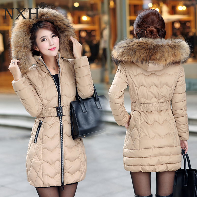 NXH Snow wear wadded jacket female 2018 winter jacket women slim Long Cotton outerwear winter coat women plus size parkas women