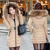 NXH Snow wear wadded jacket female 2018 winter jacket women slim Long Cotton outerwear winter coat women plus size parkas women