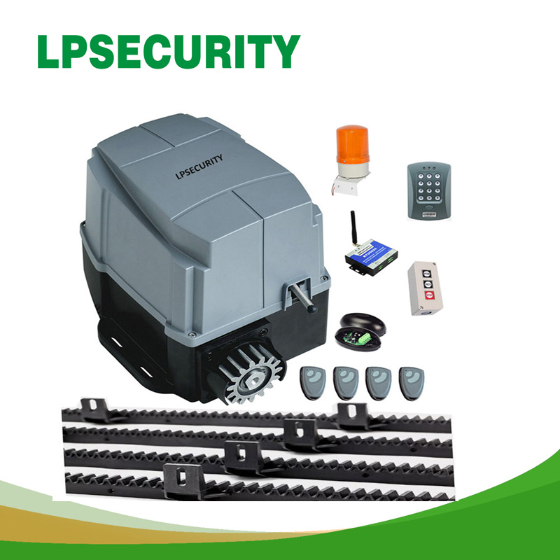 LPSECURITY with 5m or 6m nylon racks 1600kg AC engine automatic gate system foresee electric GSM sliding gate door opener motor 240v automatic electric sliding gate opener for 600kgs door weight compatible with gsm gate opener gsm gate opener not included