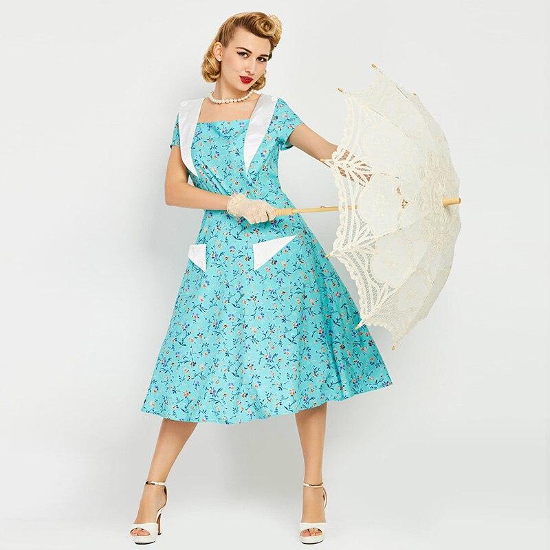 Summer Dress Girls Mid Calf Turquoise Women Print Dress Short Sleeve European Summer Party Dress Rockabilly Retro Dresses