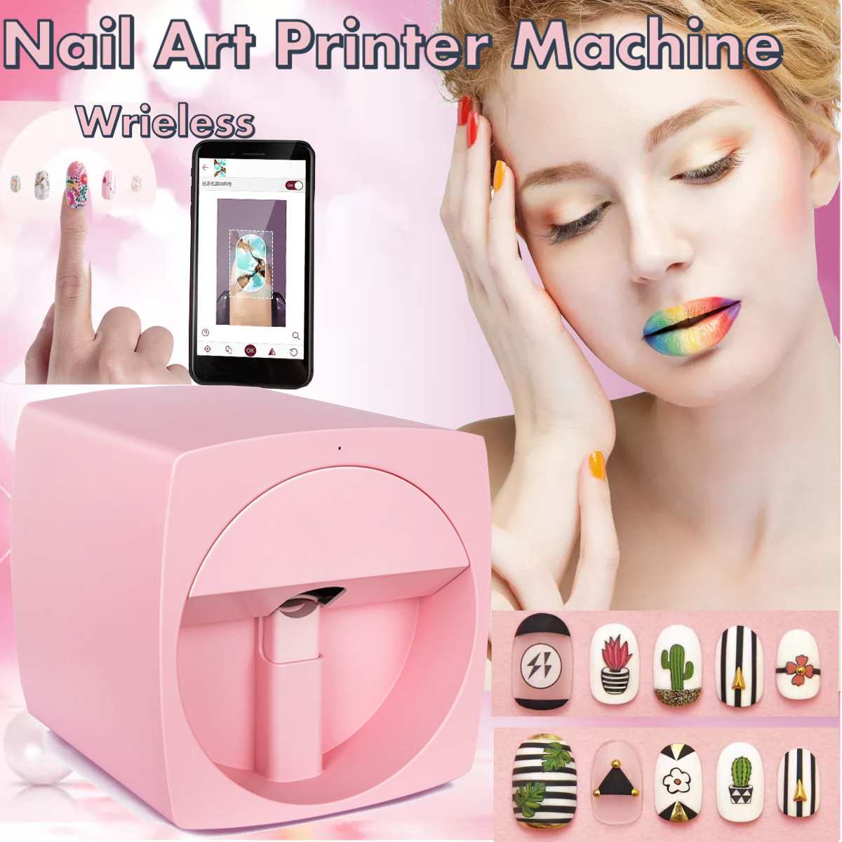 Mobile Nail Printer Manicure Transmission Picture Photo Pattern Color Printing advanced Nail Art EquipmentMobile Nail Printer Manicure Transmission Picture Photo Pattern Color Printing advanced Nail Art Equipment