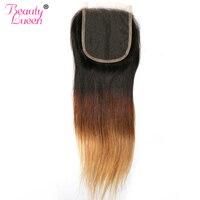 Ombre Lace Closure Free Part Brazilian Straight Closure Honey Blonde 1b/4/27 Three Tone Closure Color Non Remy Human Hair