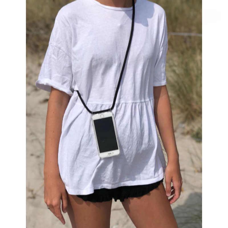 Funda de teléfono transparente de lujo con correa de cordón Crossbody para iPhone 6 7 8 plus x xr xs max fundas con collar de cuerda