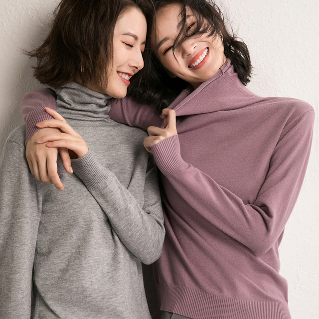 LHZSYY 2018 Autumn and Winter New Women' Sweater Fashion Soft High Neck Knit Pullover Solid Color Short Wool Sweater Warm Blouse