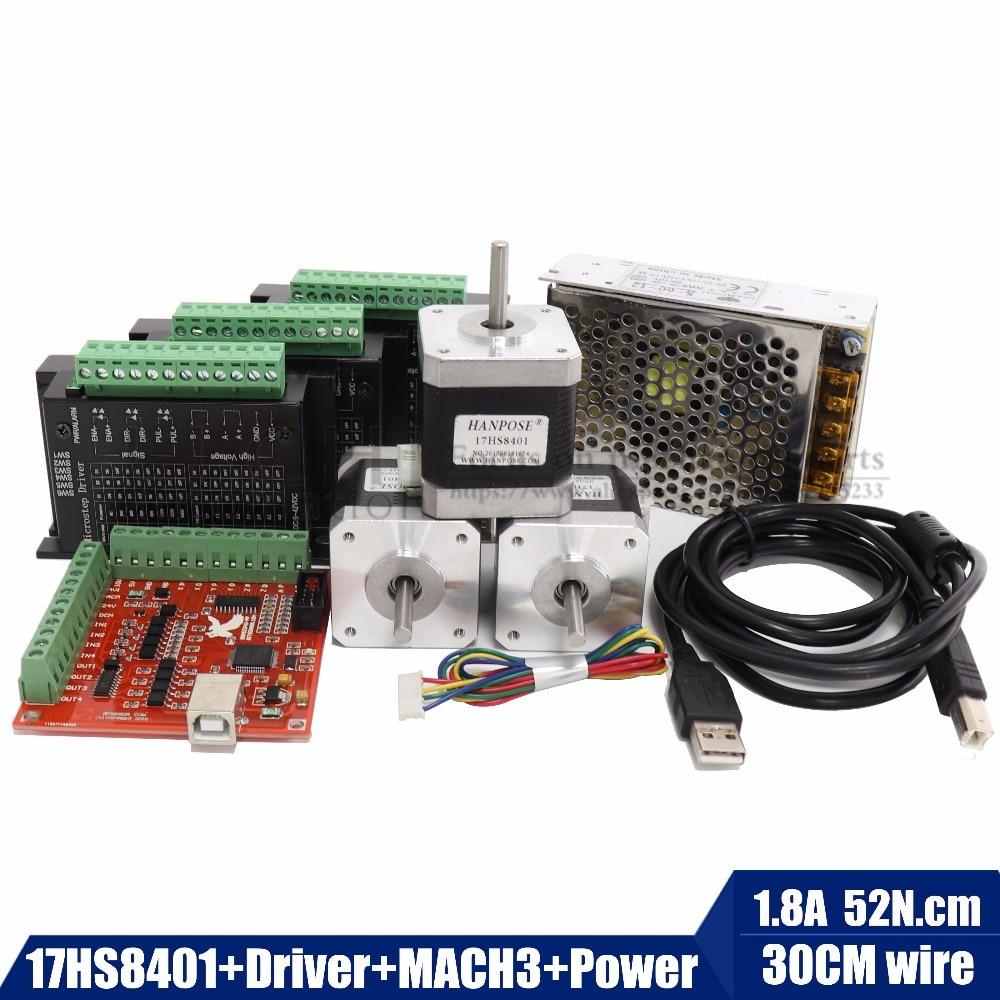 Free shipping 17hs8401 Stepper Motor 42 motor Nema17 TB6600 motor Driver MACN3 Controller card 12V5A60W power